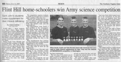 Flint Hill home-schoolers win Army science competition