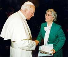 Pope John Paul II and Dr. Clark, Director of the Seton Home Study School